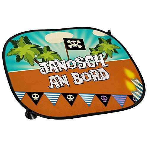Auto-Sonnenschutz mit Namen Janosch und schönem Piraten-Motiv für Jungs - Auto-Blendschutz - Sonnenblende - Sichtschutz