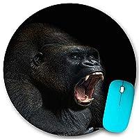 KAPANOU ラウンドマウスパッド カスタムマウスパッド、動物類人猿猿ゴリラシルバーバック歯肖像画クローズアップ山アフリカ感情、PC ノートパソコン オフィス用 円形 デスクマット 、ズされたゲーミングマウスパッド 滑り止め 耐久性が 200mmx200mm
