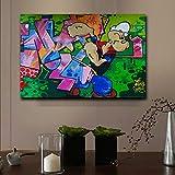 ganlanshu Dibujos Animados clásicos Popeye Pintura Lienzo Calle Graffiti Estilo Abstracto Sala de Estar decoración de la habitación de los niños,Pintura sin Marco,60x90cm
