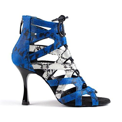 PortDance Mujeres Zapatos de Baile PD804 Pro - Cuero Azul/Blanco - 7 cm Flare [EUR 41]