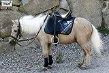 Ledersattel Monoblatt 12 14 Zoll Minishetty Shetty Leder + Glitzer + Lack Dressursattel Ponysattel Strass (12 Zoll, Schwarz - Weiß)