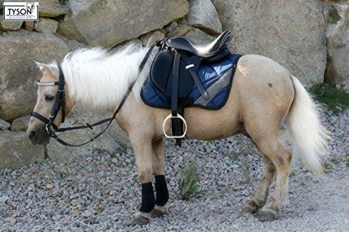 Tysons Breeches  Ledersattel Monoblatt 10 12 15 Zoll Minishetty Shetty Leder + Glitzer + Lack Dressursattel Ponysattel Strass (12 Zoll, Schwarz - Weiß)