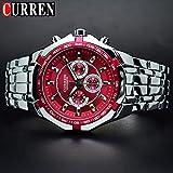 Relojes De Pulsera Reloj De Hombre Esfera Roja Relojes De Hombre Resistentes Al Agua De Acero Inoxidable Relojes Negocios De Cuarzo Analógico Relojes para Hombre Moda 8084, Plata Rojo