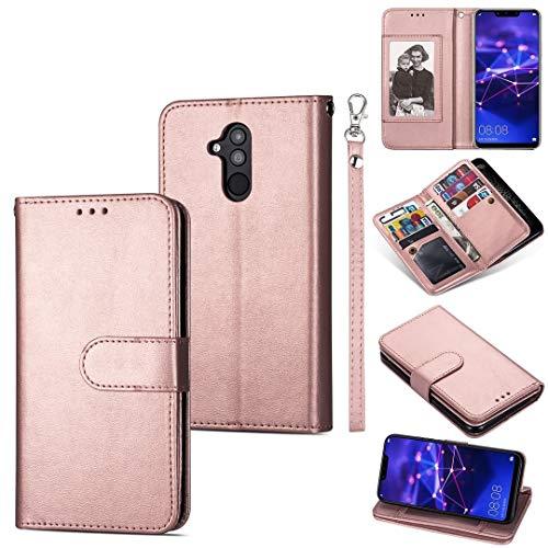 GUODONG Carcasa de telefono for Huawei Mate 20 Lite Funda de Cuero Horizontal Ultra-Delgada de 9 Cartas, con Ranuras y Soporte for Tarjetas y cordón Funda Trasera para Smartphone (Color : Rose Gold)