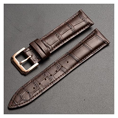 LINMAN Reemplazo Universal Top Capa de Cuero Reloj de Cuero Reloj de Cuero para Hombres Mujeres 10mm-24mm Watch Band (Band Color : Brown RG Buckle, tamaño : 21mm)