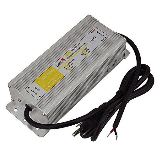 LEDwholesalers 12-Volt DC Waterpoof LED Power Suppply Driver Transformer with 3-Prong Plug, 60W, 3204-12V
