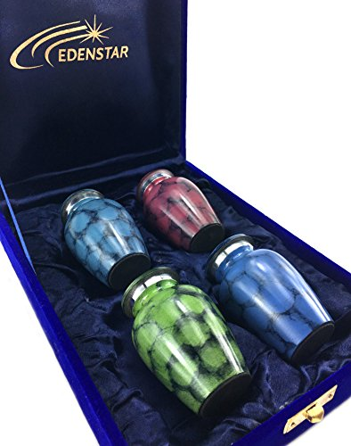 EDENSTAR NEXTG Premium Quality Memorial Mini Keepsake Urns Handcrafted to Perfection Engraved with Unique Design - Small Keepsakes Cremation Urn for Ashes Handmade Funeral Urns Set of Four