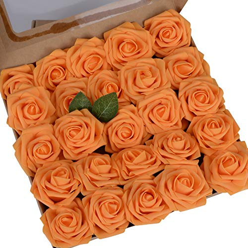 Umiss Roses Artificial Flowers Orange 25pcs Fake Roses Wedding Decorations Set Artificial Flora DIY Wedding Home Office Party Hotel Restaurant Patio Yard Decoration (25pcs, 3'', Orange)