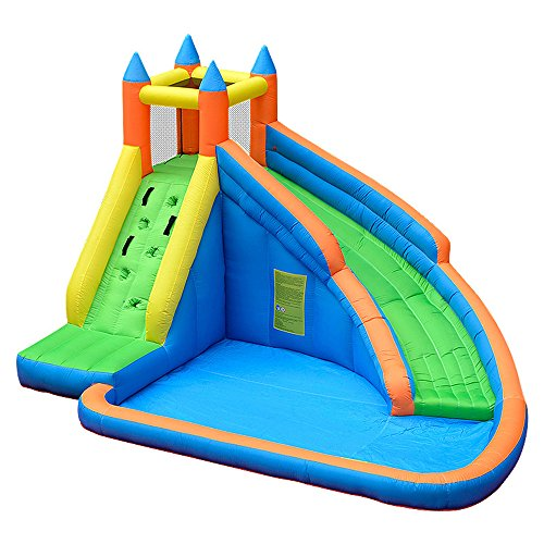 Doctor Dolphin Inflatable Bounce Slide Water Park Backyard Bouncy Slide House with Air Blower for Kids Outdoor