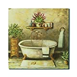 CVHOMEDECO. Country Antique Hand Painted Wooden Frame Wall Hanging 3D Painting Decoration Art, Bath Design, 15 x 15 Inch