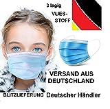 10 x Kinder Mundschutz Masken Einweg Mund Nase Gesicht 3 lagig Community Hygiene Behelfsmaske (10) + Gratis 1