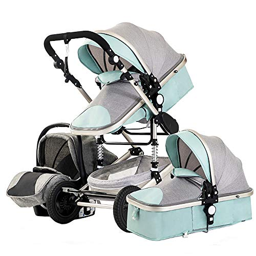 Huabei2 Baby Stroller 3-in-1 Set, Child Car Seat + Crib, With Birth Mattress, Large Seat Reclining, Large Basket, Two-way Four-wheel Shock-absorbing Stroller, Easy To Fold Newborn Baby Stroller