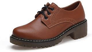 Bonrise Women's Platform Wingtip Oxfords Shoes Lace Up Mid Chunky Heel Vintage Classic Dress Wedge Oxford