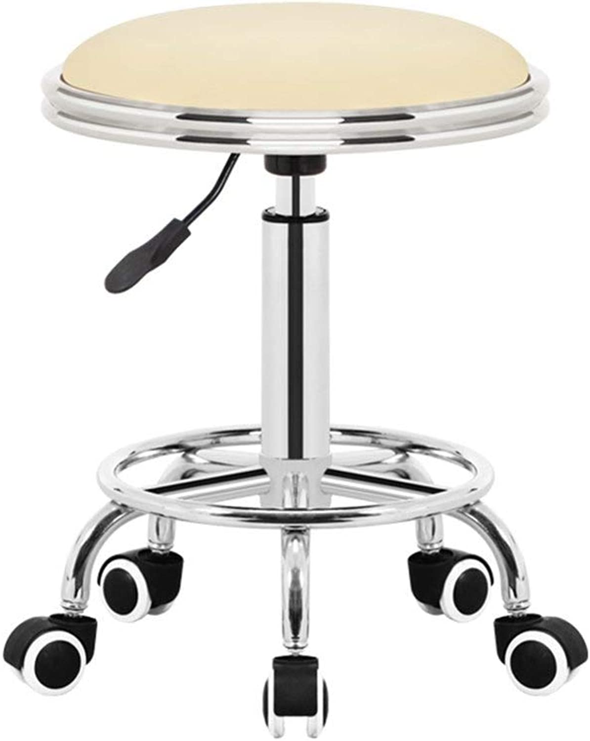 Bar Chair, Work Stool Makeup Stool Beauty Salon Stool Can Be redated Decorative Stool Creative Dining Chair GMING (color   Creamy-White)