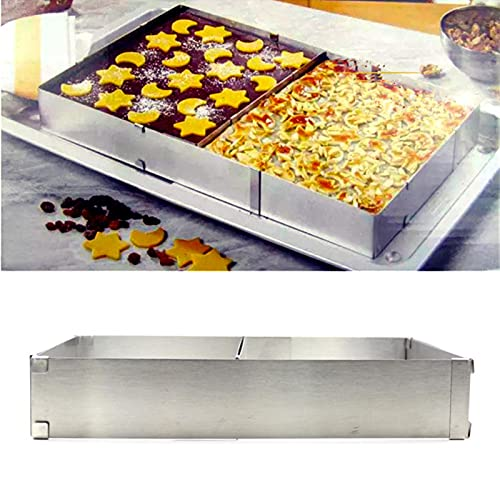 QOTSTEOS Bandeja de horno para mousse de acero inoxidable, placa rectangular para pan de bricolaje ajustable para hornear utensilios para hornear horno (plata)