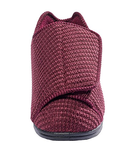 Silvert's Adaptive Clothing & Footwear Womens Extra Extra Wide Slippers - Swollen Feet - Adjustable Closure - Wine 6