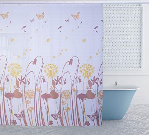 Duschvorhang 180 x 200cm Eva Wasserdicht, Anti Schimmel, Umweltfreundlich Waschbar, mit 12 Ringe, Bad Vorhang für Badezimmer Badewanne (Butterfly)