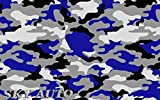 Sky Auto INC Blue Black White Gray Camouflage Vinyl Car Wrap Film Sheet + Free Cutter & Squeegee (6FT x 5FT / 72' x 60')