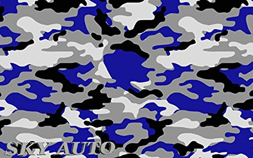"""Sky Auto INC Blue Black White Gray Camouflage Vinyl Car Wrap Film Sheet + Free Cutter & Squeegee (40FT x 5FT / 480"""" x 60"""")"""