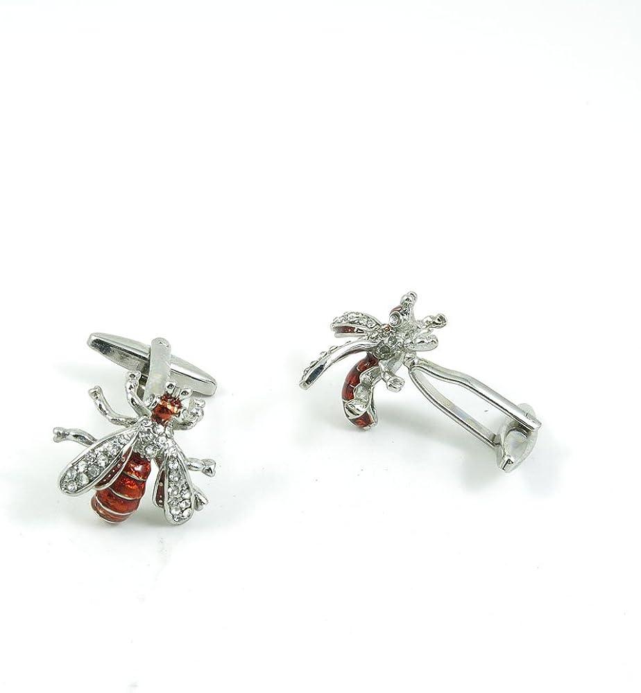 Cufflinks Cuff Links Fashion Mens Boys Jewelry Wedding Party Favors Gift MMA071 Orange-red Zircon Bee