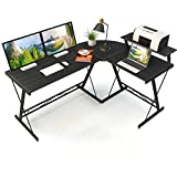 Cosyland escritorio de ordenador computadora en forma l mesa de esquina moderna y minimalista para oficina, estudio, hogar marco de metal,3 piezas montaje fácil, negro