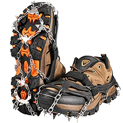 ZOTO Ice Traction Cleats, 19 Spikes Crampons for HikingBoots Shoe Ice and Snow Grips Anti-Slip Stainless Micro Spikes for Hiking, Walking, Climbing, Jogging, Fishing, Running (M)
