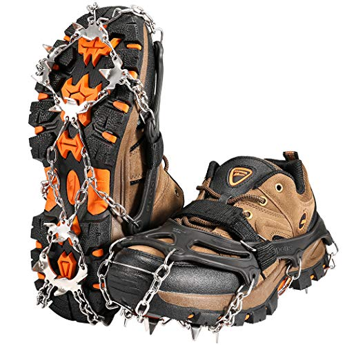 Ice Traction Cleats ZOTO 19 Spikes Crampons for Hiking Boots Shoe Ice and Snow Grips AntiSlip Stainless Micro Spikes for Hiking Walking Climbing Jogging Fishing Running L
