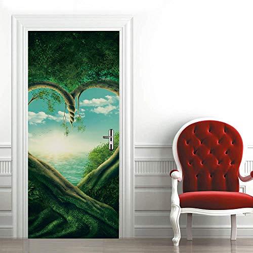 Etiqueta de La Puerta 3D Árbol verde y corazón PVC Etiqueta de La Pared para la Decoración del Hogar Plantilla de la Pared para la Sala de Estar Dormitorio Cocina Fondo