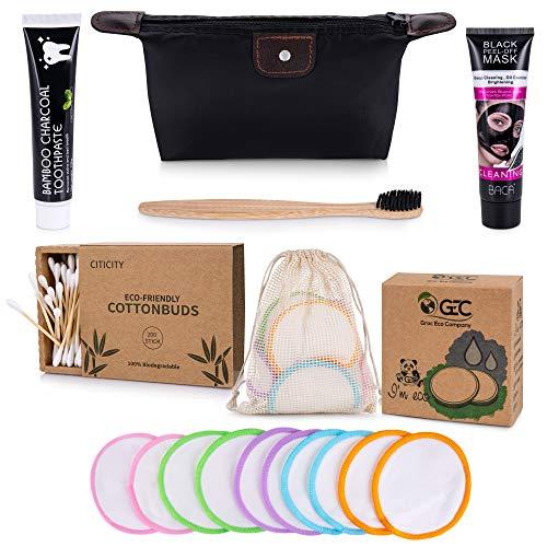 6-in-1 Pflege-Set aus Bambus: Mitesser Maske XXL 120ml, Abschminkpads Waschbar, Aktivkohle Zahnpasta, Zahnbürste Bambus, Wattestäbchen, Kosmetiktasche, Orginelle Geschenkidee