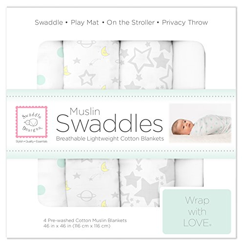 SwaddleDesigns Cotton Muslin Swaddle Blankets, Set of 4, Goodnight Starshine