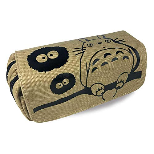Detazhi Caja de lápices de Dibujos Animados Totoro Bolso Bolso multifunción Bolsa de lápiz con Cremallera