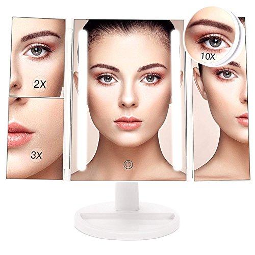 Specchio per Trucco Ingranditore 10x 3x 2x 1x, Specchio Trucco Illuminato con Rotazione 180° con 24 Luci LED Touch Screen Regolabile Tri-pieghevole Specchio Cosmetico