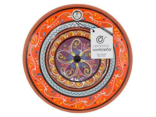 CERÁMICA RAMBLEÑA | Piatto decorativo da appendere a parete | Piatto in ceramica | Piatto decorativo mediterraneo arancione-bianco-viola | 100% fatto a mano | 28 x 28 x 4,5 cm