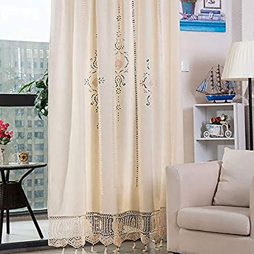 QTQHOME Bohemian Cotton Linen Crochet Curtains,Victorian Vintage Embroidery Window Drapes with Tassel,Farmhouse Blackout Curtains Tab Top for Livingroom Bedroom-Beige 172x255cm(68x100inch)