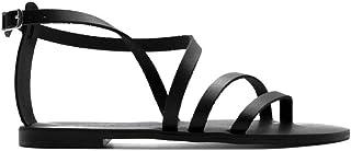 Luxury Fashion | Nicolas Lainas Women 59BLACK Black Leather Sandals | Spring-summer 20