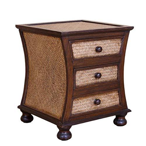 RUIXFEC Bedside Cabinet Chest of Drawers, Bedside Table Cabinet Bathroom, Bedside Table Cabinet 3 Drawers, Photo Color, L46W44H50cm
