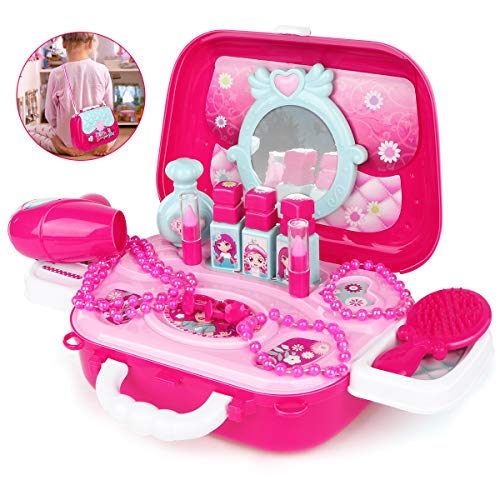 Pretend Makeup Kit Set Girl Toys Plastic Play Vanity Non-Toxic Cosmetic Suitcase Beauty Playset Little Princess Fashion Hair Salon Gift for Toddlers Age 2 3 4 5 6 Year Olds