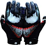 Taqcha Villain Football Gloves - Tacky Grip Skin Tight Adult Football Gloves - Enhanced Performance Football Gloves Men - Pro Elite Super Sticky Receiver Football Gloves - Adult Sizes (Small)