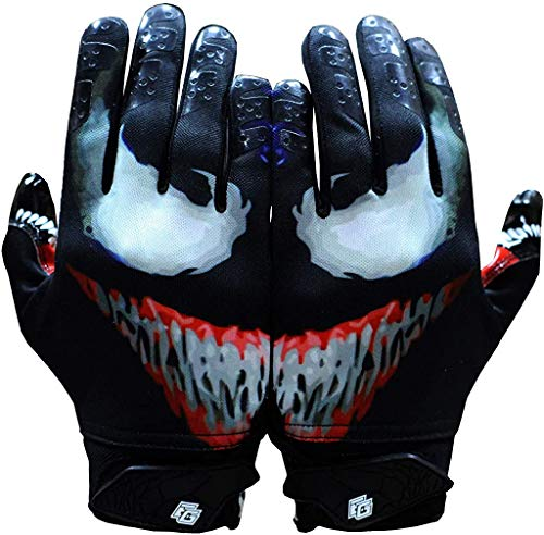 Taqcha Villain Football Gloves - Tacky Grip Skin Tight Adult Football Gloves - Enhanced Performance Football Gloves Men - Pro Elite Super Sticky Receiver Football Gloves - Adult Sizes (Medium)