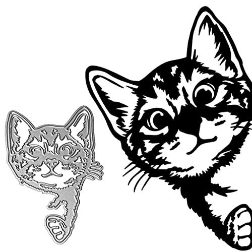 WuLi77 Realistisch Katze Stanzschablone Die Stanzen Cutting Dies, Metall Stanzbögen Prägeschablone Für Scrapbooking, Karten, Card Making