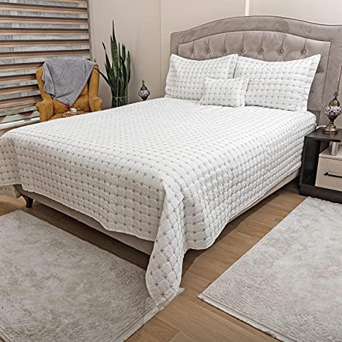 DOWRY WORLD Store Tagesdecke Set aus Baumwollsatin, Bettüberwurf Doppelbett 260x260 cm, Gesteppte Decke mit Kissen 60x80 cm, Sofaüberwurf Bett Decke Gesteppt, Wohndecke Ganzjährig (Creme)