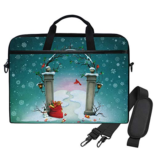 Emoya Laptopn Bag Christmas Gates Snowflakes Red Cardinal Messenger Laptop Shoulder Bag Compatible 13.3-14 Inch Computer