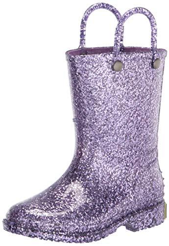 Western Chief Girls Glitter Waterproof Rain Boot, Lilac, 10 Toddler