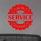 yaoxingfu Auto Service Center Signe Sticker Garage Logo Design Citation Décor Home Decor Vinyle Wall Sticker Chambre Affiche ww-3 70 x 58 cm