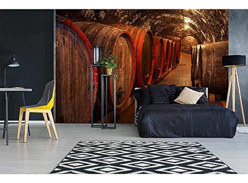 Vlies Fotobehang WIJN VATEN | Niet-Geweven Foto Mural | Wall Mural - Behang - Reusachtige Wandposter | Premium Kwaliteit - Gemaakt in de EU | 375 cm x 250 cm