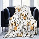 QIUTIANXIU Mantas para Sofás de Franela 150x200cm Naranja Cachorro Lindo Patrón Raza de Perro Welsh Corgi Animales Vida...