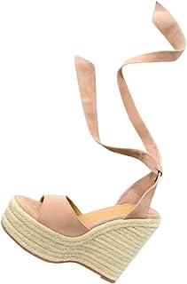 5ac10a9b7f4 Amazon.com: Beige Lace Up Wedge Sandal