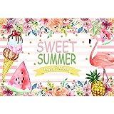 Leowefowa 2,2x1,5m Vinile Foto da Sfondo Sfondo di compleanno Sweet Summer Flamingo Flower Baby Girl Fondali Fotografia Bambino Ragazzo Bambini Photo Studio Puntelli Photo Booth