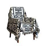 Captainray Aztec Boho Throw Blanket Decor Indian Southwestern Cotton Home Tribal Outdoor Southwest Woven Couch Sofa Cover White Mexican Large Black with Tassels(S:71'x51')