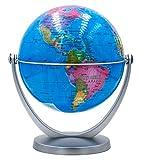 Scang Mini Blue Globe 4.17-inch / 10.6 cm - Swivels in All Directions Educational, Decorative, Unique, Small World, Desktop (Mini Globe)